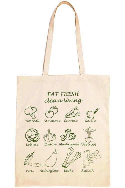 Vegetable Print Cotton Shopper Bag