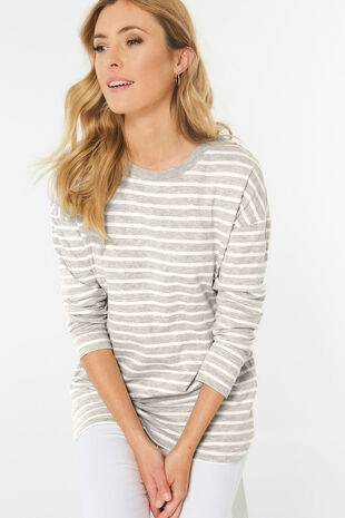 Stripe Curved Hem Sweat