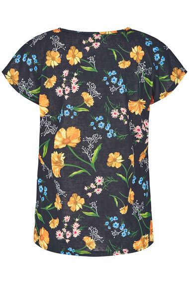 Floral Print Linen Look T-Shirt