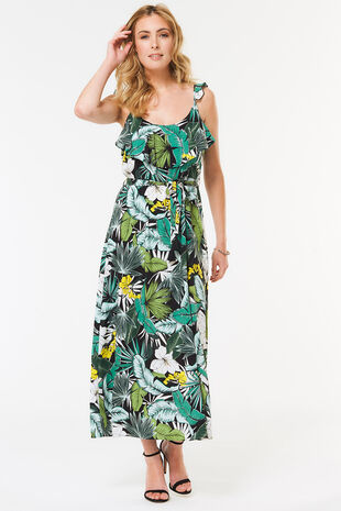 Sleeveless Leaf Print Maxi Dress