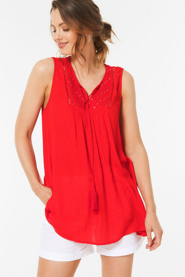 Embroided Vest Top With Mirrors