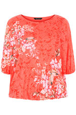 Floral and Burnout Printed Blouson Top
