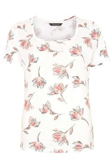 Square Neck Floral Printed T-Shirt