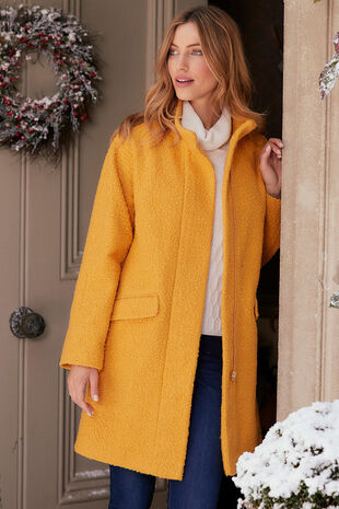 Boucle Funnel Neck Coat