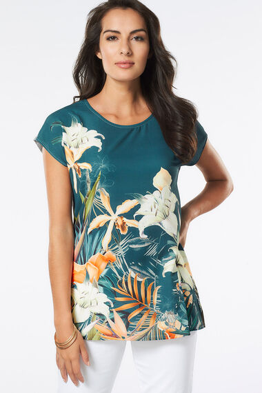 Longline Tropical Woven Print T-Shirt