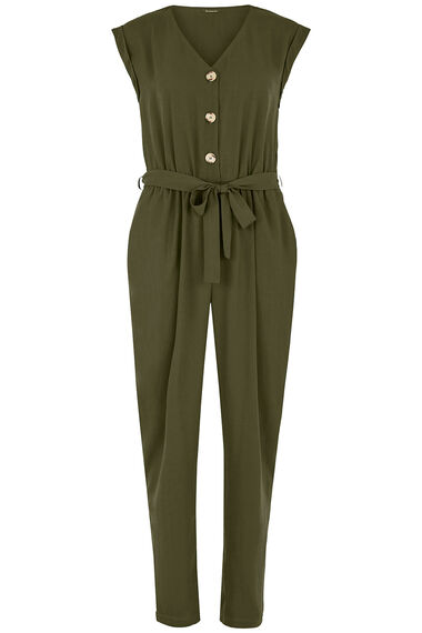 Button Front Tie Jumpsuit