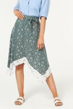 Leopard Print Hanky Hem Border Skirt