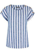 Short Sleeve Stripe Linen Blend Shell Top