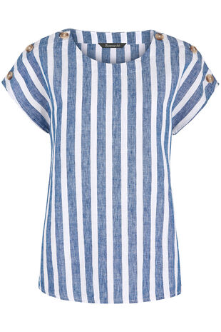 0795bbf7afd Short Sleeve Stripe Linen Blend Shell Top