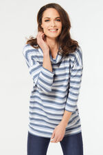 Stripe Cowl Neck Sweatshirt