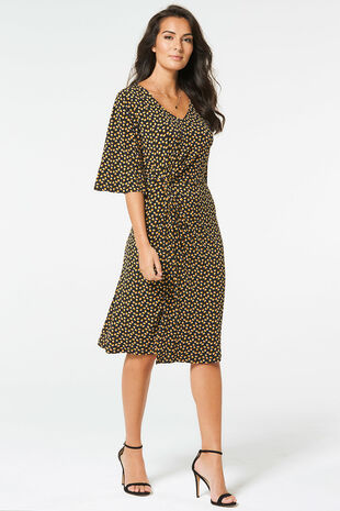 Spotted Knot Front Dress