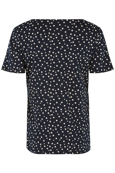 Square Neck Star Print T-Shirt