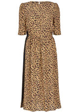 Animal Print Dress with Side Stripe