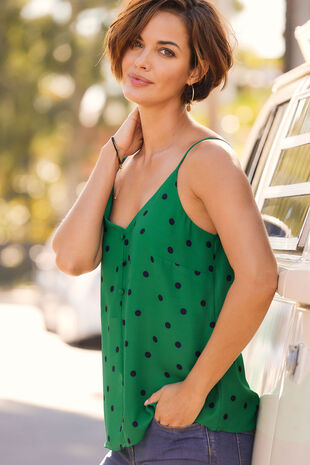 Spot Print Button Through Cami