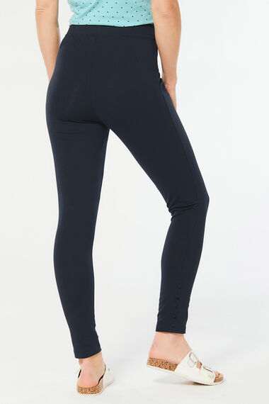 Button Hem Detail Full Length Legging