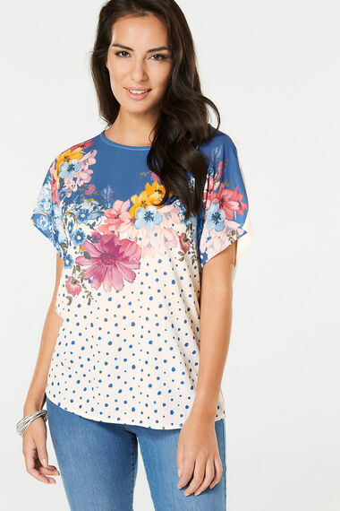 Floral & Spot Woven Front T-Shirt