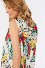 Tropical Print Linen Blend Dress