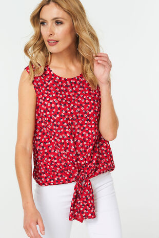Ditsy Print Tie Front Top