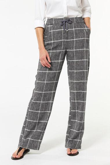 Check Wide Leg Linen Blend Trouser