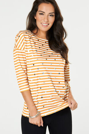 Stripe with Foil Spot Print T-Shirt