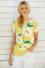 Printed Woven Front Jersey Back Shell Top with Necklace