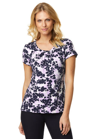 Dash Print Scoop Neck Top
