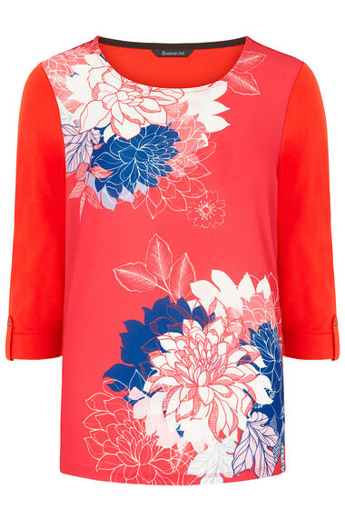 Shadow Floral Woven Front T-Shirt