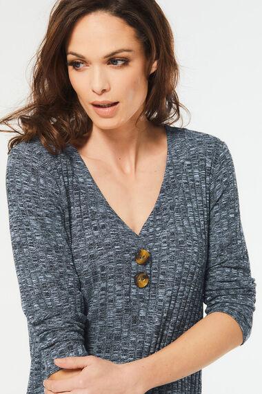 Rib V-Neck Button Detail Tunic