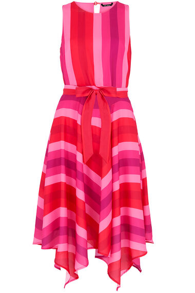 Sleeveless Ombre Stripe Hanky Hem Dress
