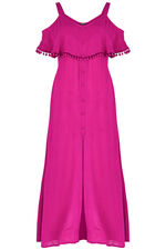 Maxi Dress With Pom Poms