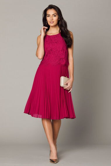 Lace Top Pleated Skirt Dress