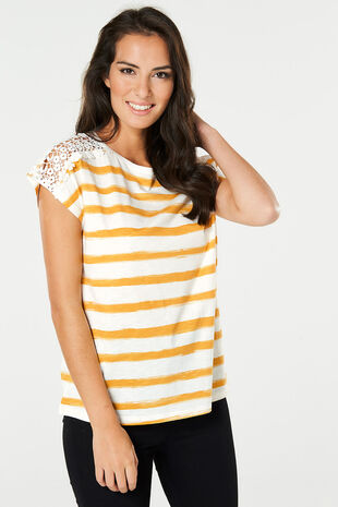 Stripe Lace Shoulder T-Shirt