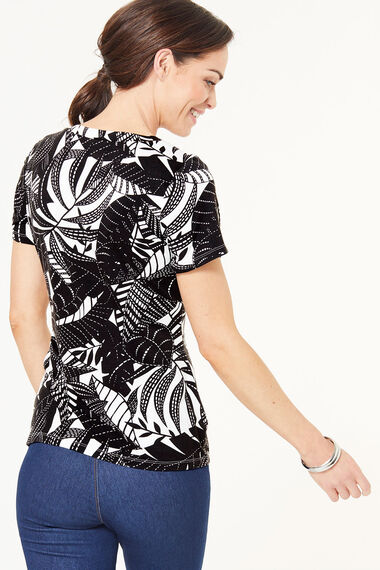 Square Neck Leaf Printed Top