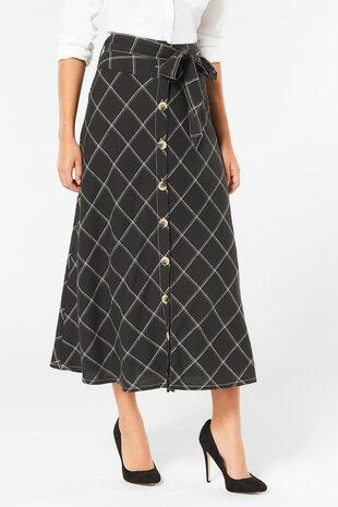 Check Linen Blend Maxi Skirt