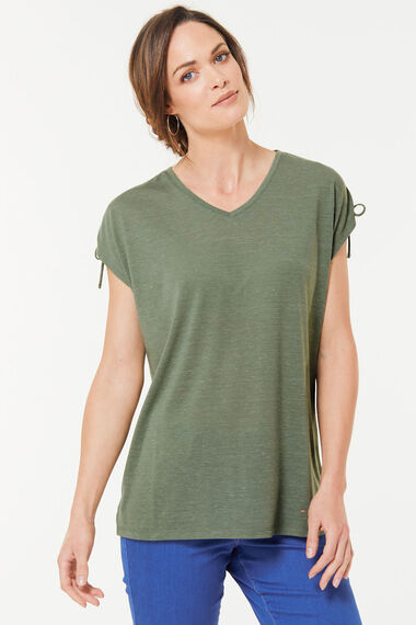 Rouched Sleeve T-Shirt