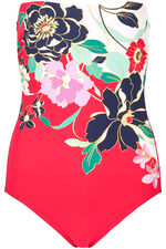 Graphic Pop Floral Bandeau Swimsuit