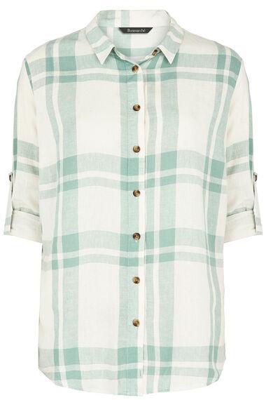 Long Sleeve Linen Blend Check Shirt