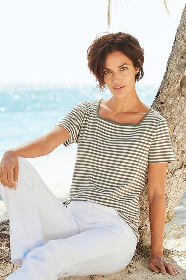 Pure Cotton Square Neck Stripe T-Shirt