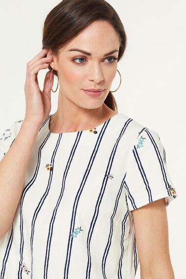 Stripe Embroidered Peplum Blouse
