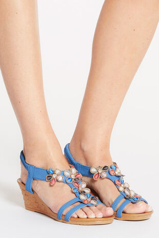 Cushion Walk Sling Back Wedge Sandal with Jewel Detail