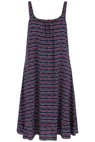 Jacquard Stripe Print Frill Hem Sundress