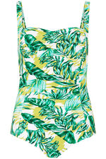 Leaf Print Ruched Front Swimsuit