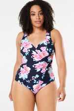 Rose Print Wrap Swimsuit