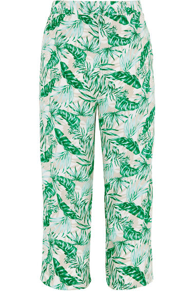 Palm Printed Wide Leg Cropped Trousers