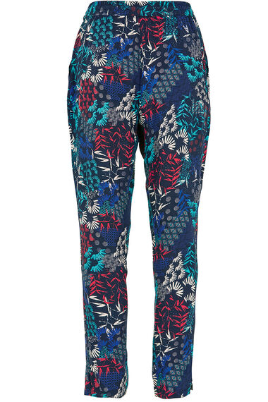 Oriental Print Tapered Trousers