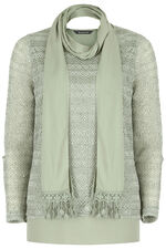 Light Knit Top With Scarf