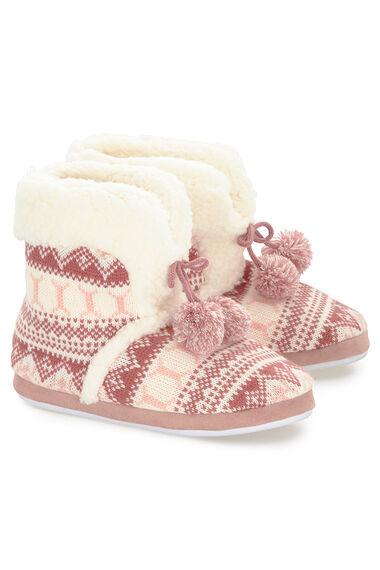 Fairisle Pink Bootie Slipper