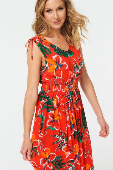 Havana Floral Gathered Shoulder Maxi Dress
