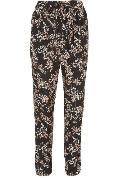 Floral Print Crepe Harem Trousers