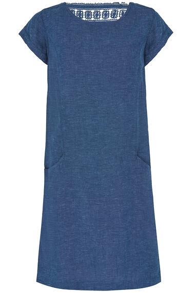Crochet Back Linen Blend Dress